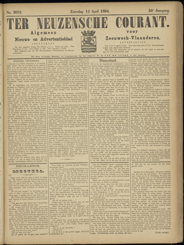 Ter Neuzensche Courant. Algemeen Nieuws- en Advertentieblad voor Zeeuwsch-Vlaanderen / Neuzensche Courant ... (idem) / (Algemeen) nieuws en advertentieblad voor Zeeuwsch-Vlaanderen 1894-04-14
