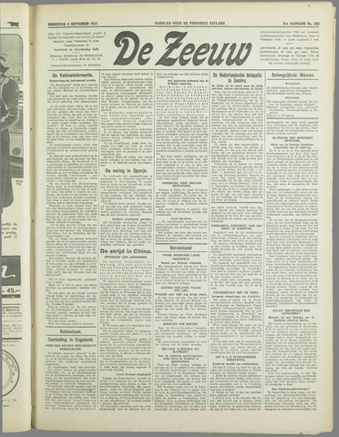 De Zeeuw. Christelijk-historisch nieuwsblad voor Zeeland 1937-09-02