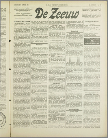 De Zeeuw. Christelijk-historisch nieuwsblad voor Zeeland 1934-10-18
