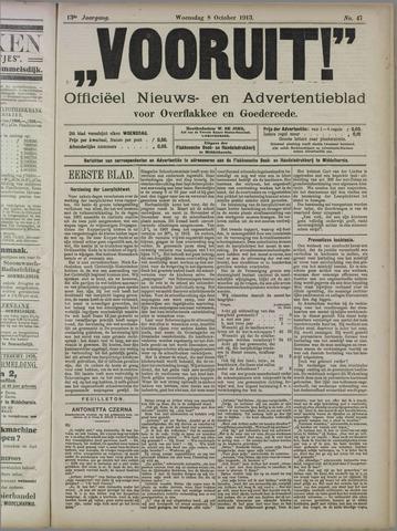 """""""Vooruit!""""Officieel Nieuws- en Advertentieblad voor Overflakkee en Goedereede 1913-10-08"""