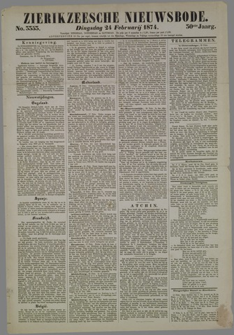 Zierikzeesche Nieuwsbode 1874-02-24