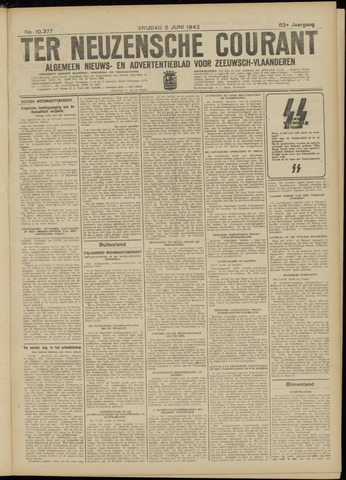 Ter Neuzensche Courant. Algemeen Nieuws- en Advertentieblad voor Zeeuwsch-Vlaanderen / Neuzensche Courant ... (idem) / (Algemeen) nieuws en advertentieblad voor Zeeuwsch-Vlaanderen 1942-06-05