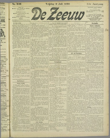 De Zeeuw. Christelijk-historisch nieuwsblad voor Zeeland 1920-07-09