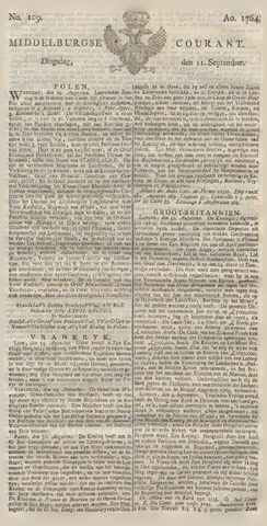 Middelburgsche Courant 1764-09-11