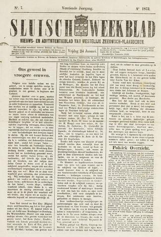 Sluisch Weekblad. Nieuws- en advertentieblad voor Westelijk Zeeuwsch-Vlaanderen 1873-01-24