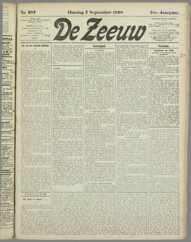 De Zeeuw. Christelijk-historisch nieuwsblad voor Zeeland 1920-09-07