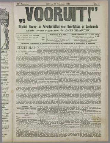 """""""Vooruit!""""Officieel Nieuws- en Advertentieblad voor Overflakkee en Goedereede 1916-09-30"""