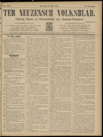 Ter Neuzensch Volksblad. Vrijzinnig nieuws- en advertentieblad voor Zeeuwsch- Vlaanderen / Zeeuwsch Nieuwsblad. Nieuws- en advertentieblad voor Zeeland 1914-03-21