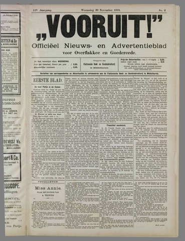 """""""Vooruit!""""Officieel Nieuws- en Advertentieblad voor Overflakkee en Goedereede 1910-11-30"""