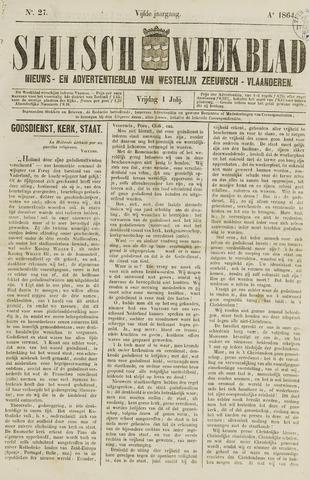 Sluisch Weekblad. Nieuws- en advertentieblad voor Westelijk Zeeuwsch-Vlaanderen 1864-07-01