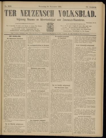 Ter Neuzensch Volksblad. Vrijzinnig nieuws- en advertentieblad voor Zeeuwsch- Vlaanderen / Zeeuwsch Nieuwsblad. Nieuws- en advertentieblad voor Zeeland 1915-11-24