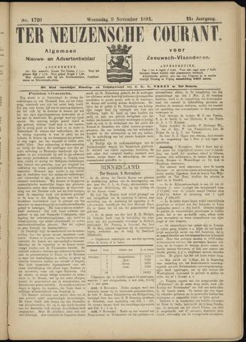 Ter Neuzensche Courant. Algemeen Nieuws- en Advertentieblad voor Zeeuwsch-Vlaanderen / Neuzensche Courant ... (idem) / (Algemeen) nieuws en advertentieblad voor Zeeuwsch-Vlaanderen 1881-11-09
