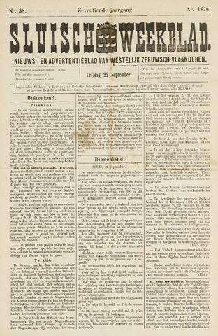 Sluisch Weekblad. Nieuws- en advertentieblad voor Westelijk Zeeuwsch-Vlaanderen 1876-09-22