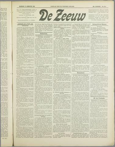 De Zeeuw. Christelijk-historisch nieuwsblad voor Zeeland 1934-08-13