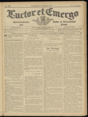 Luctor et Emergo. Antirevolutionair nieuws- en advertentieblad voor Zeeland / Zeeuwsch-Vlaanderen. Orgaan ter verspreiding van de christelijke beginselen in Zeeuwsch-Vlaanderen 1914-11-11