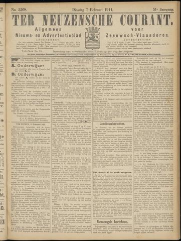 Ter Neuzensche Courant. Algemeen Nieuws- en Advertentieblad voor Zeeuwsch-Vlaanderen / Neuzensche Courant ... (idem) / (Algemeen) nieuws en advertentieblad voor Zeeuwsch-Vlaanderen 1911-02-07