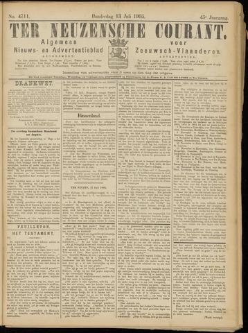 Ter Neuzensche Courant. Algemeen Nieuws- en Advertentieblad voor Zeeuwsch-Vlaanderen / Neuzensche Courant ... (idem) / (Algemeen) nieuws en advertentieblad voor Zeeuwsch-Vlaanderen 1905-07-13