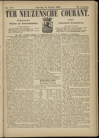 Ter Neuzensche Courant. Algemeen Nieuws- en Advertentieblad voor Zeeuwsch-Vlaanderen / Neuzensche Courant ... (idem) / (Algemeen) nieuws en advertentieblad voor Zeeuwsch-Vlaanderen 1882-10-14