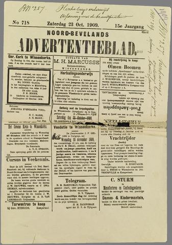 Noord-Bevelands Nieuws- en advertentieblad 1909-10-23