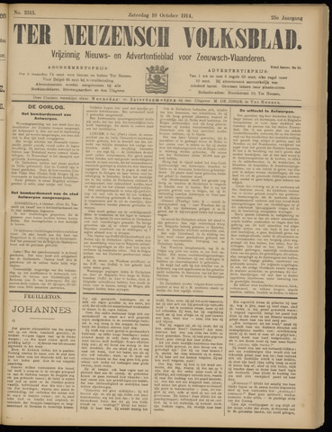 Ter Neuzensch Volksblad. Vrijzinnig nieuws- en advertentieblad voor Zeeuwsch- Vlaanderen / Zeeuwsch Nieuwsblad. Nieuws- en advertentieblad voor Zeeland 1914-10-10