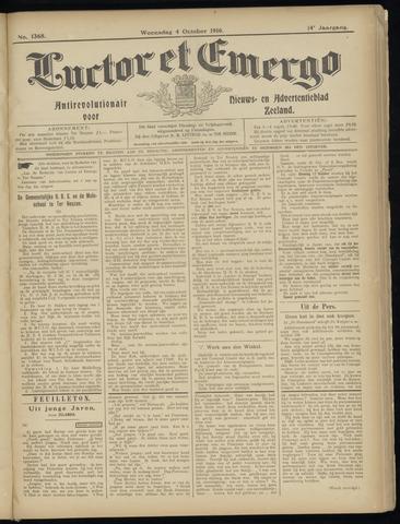 Luctor et Emergo. Antirevolutionair nieuws- en advertentieblad voor Zeeland / Zeeuwsch-Vlaanderen. Orgaan ter verspreiding van de christelijke beginselen in Zeeuwsch-Vlaanderen 1916-10-04