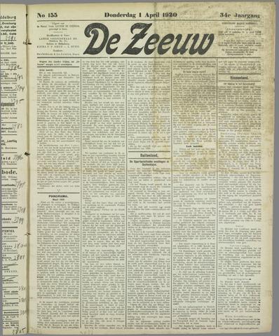 De Zeeuw. Christelijk-historisch nieuwsblad voor Zeeland 1920-04-01