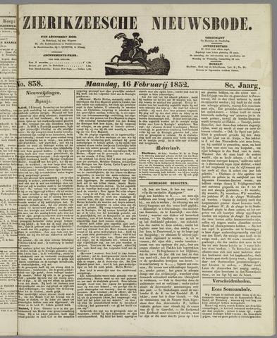 Zierikzeesche Nieuwsbode 1852-02-16