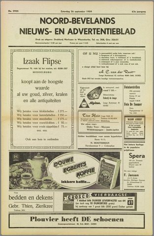Noord-Bevelands Nieuws- en advertentieblad 1959-09-26