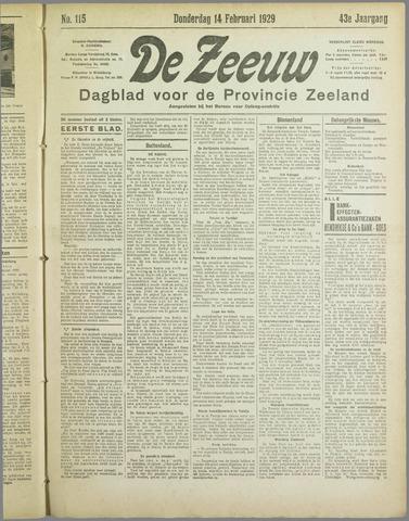 De Zeeuw. Christelijk-historisch nieuwsblad voor Zeeland 1929-02-14