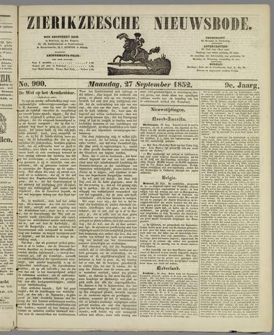Zierikzeesche Nieuwsbode 1852-09-27