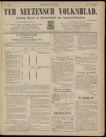 Ter Neuzensch Volksblad. Vrijzinnig nieuws- en advertentieblad voor Zeeuwsch- Vlaanderen / Zeeuwsch Nieuwsblad. Nieuws- en advertentieblad voor Zeeland 1917-04-21