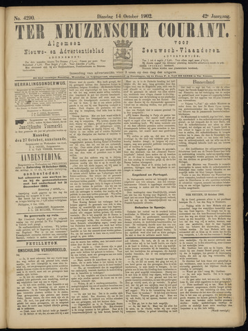 Ter Neuzensche Courant. Algemeen Nieuws- en Advertentieblad voor Zeeuwsch-Vlaanderen / Neuzensche Courant ... (idem) / (Algemeen) nieuws en advertentieblad voor Zeeuwsch-Vlaanderen 1902-10-14
