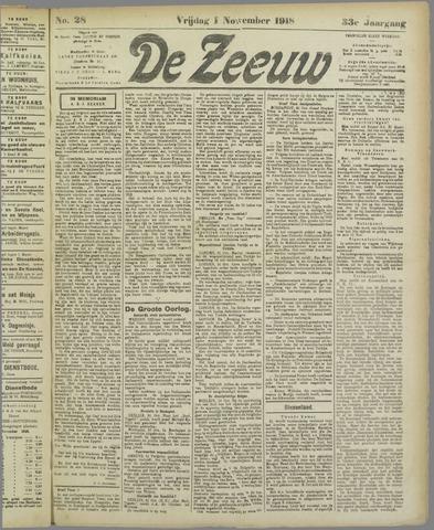 De Zeeuw. Christelijk-historisch nieuwsblad voor Zeeland 1918-11-01