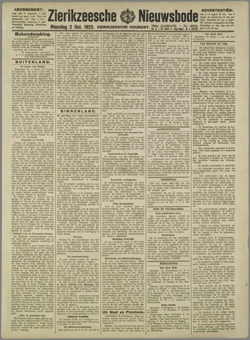 Zierikzeesche Nieuwsbode 1922-10-02