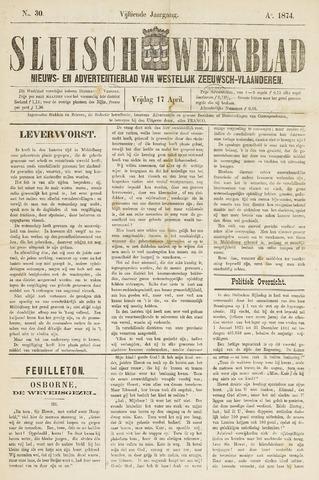 Sluisch Weekblad. Nieuws- en advertentieblad voor Westelijk Zeeuwsch-Vlaanderen 1874-04-17