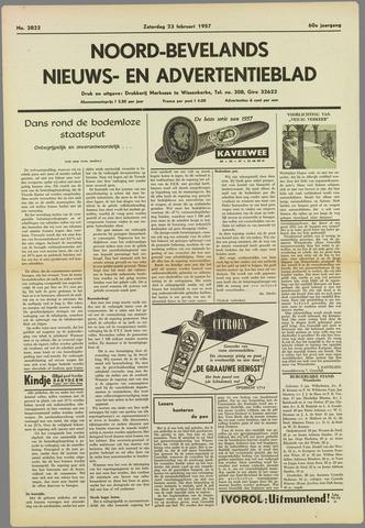 Noord-Bevelands Nieuws- en advertentieblad 1957-02-23