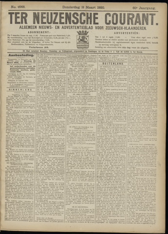 Ter Neuzensche Courant. Algemeen Nieuws- en Advertentieblad voor Zeeuwsch-Vlaanderen / Neuzensche Courant ... (idem) / (Algemeen) nieuws en advertentieblad voor Zeeuwsch-Vlaanderen 1920-03-18
