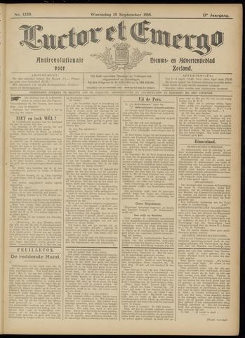 Luctor et Emergo. Antirevolutionair nieuws- en advertentieblad voor Zeeland / Zeeuwsch-Vlaanderen. Orgaan ter verspreiding van de christelijke beginselen in Zeeuwsch-Vlaanderen 1915-09-15