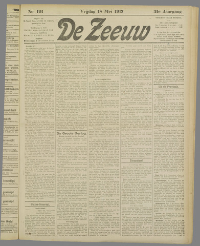 De Zeeuw. Christelijk-historisch nieuwsblad voor Zeeland 1917-05-18
