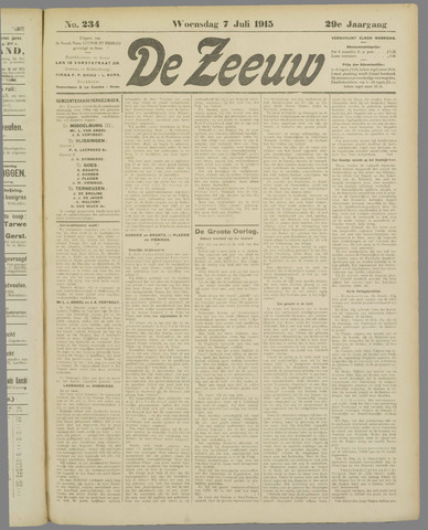 De Zeeuw. Christelijk-historisch nieuwsblad voor Zeeland 1915-07-07