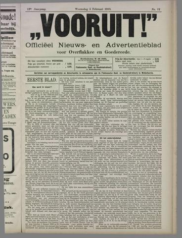 """""""Vooruit!""""Officieel Nieuws- en Advertentieblad voor Overflakkee en Goedereede 1913-02-05"""