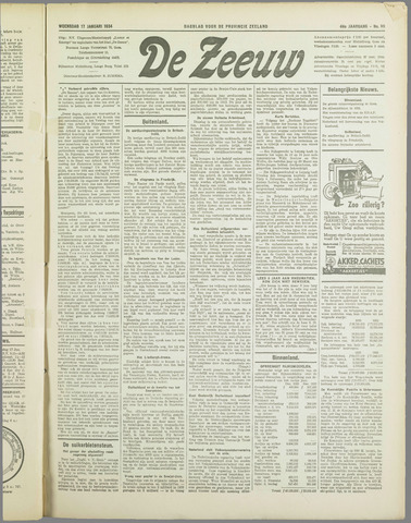 De Zeeuw. Christelijk-historisch nieuwsblad voor Zeeland 1934-01-17