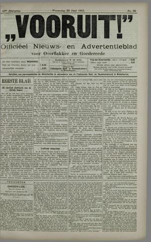 """""""Vooruit!""""Officieel Nieuws- en Advertentieblad voor Overflakkee en Goedereede 1915-06-23"""