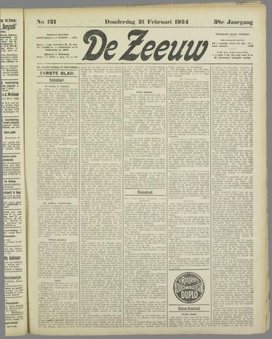 De Zeeuw. Christelijk-historisch nieuwsblad voor Zeeland 1924-02-21