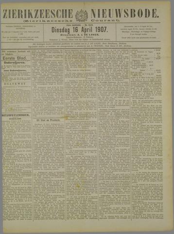 Zierikzeesche Nieuwsbode 1907-04-16