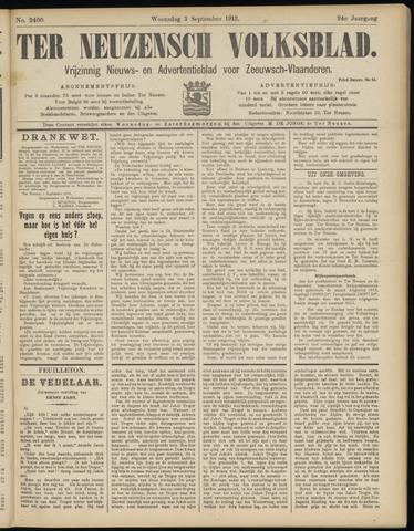 Ter Neuzensch Volksblad. Vrijzinnig nieuws- en advertentieblad voor Zeeuwsch- Vlaanderen / Zeeuwsch Nieuwsblad. Nieuws- en advertentieblad voor Zeeland 1913-09-03
