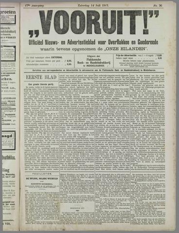 """""""Vooruit!""""Officieel Nieuws- en Advertentieblad voor Overflakkee en Goedereede 1917-07-14"""