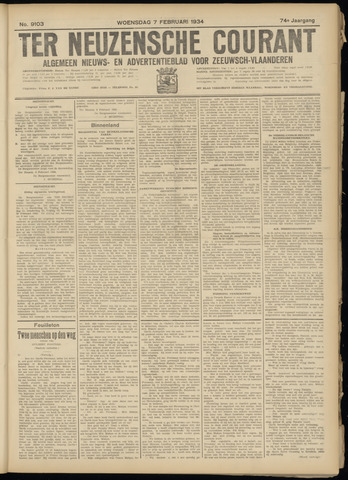 Ter Neuzensche Courant. Algemeen Nieuws- en Advertentieblad voor Zeeuwsch-Vlaanderen / Neuzensche Courant ... (idem) / (Algemeen) nieuws en advertentieblad voor Zeeuwsch-Vlaanderen 1934-02-07