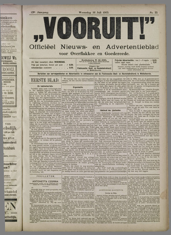 """""""Vooruit!""""Officieel Nieuws- en Advertentieblad voor Overflakkee en Goedereede 1913-07-16"""