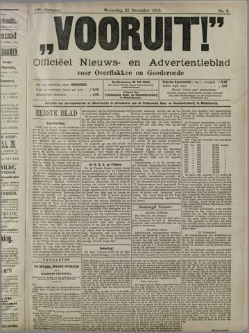 """""""Vooruit!""""Officieel Nieuws- en Advertentieblad voor Overflakkee en Goedereede 1915-12-22"""